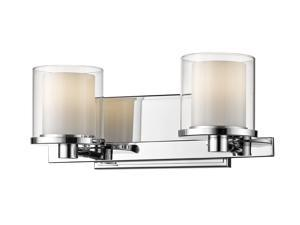 Schema 2 Light Vanity in Chrome with Clear Outside; Matte Opal Inside Shade