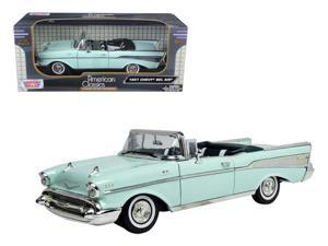 1957 Chevrolet Bel Air Convertible Blue 1/18 Diecast Model Car by MOTORMAX