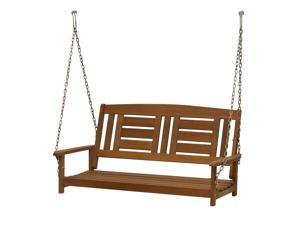 Furinno Tioman Hardwood Hanging Porch Swing with Chain
