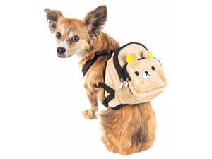 Pet Life  'Teddy Tails' Dual-Pocketed Compartmental Animated Dog Harness Backpack, Brown - Medium