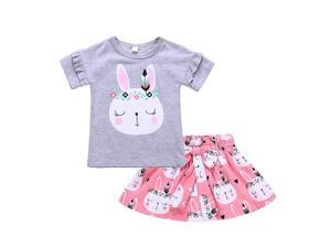 FashionTIY 2pcs Chirldren Clothing Set Girl Kids T Shirts Designs Lovely Cartoon ...