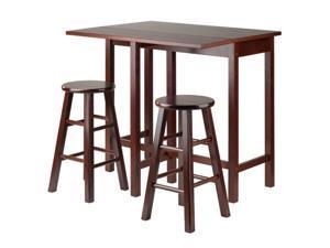 Lynnwood Drop Leaf Island Table with 2 Square Legs Stool Walnut 94394-VV By Ergode