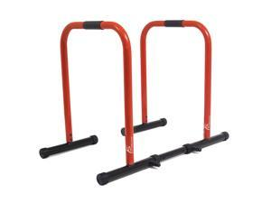 ProSource Dip Stand Station, Heavy Duty Ultimate Body Press Bar for Tricep Dips, Pull-Ups, Push-Ups, L-Sits, Red