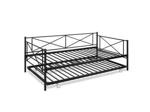 Furinno Angeland Carca Metal Daybed and Trundle, Twin Size, Black
