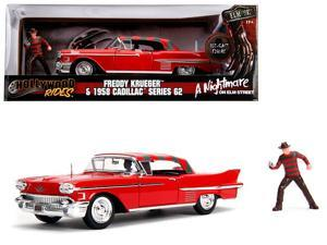 "1958 Cadillac Series 62 Red with Freddy Krueger Diecast Figure ""A Nightmare on Elm Street"" Movie 1/24 Diecast Model Car by Jada"