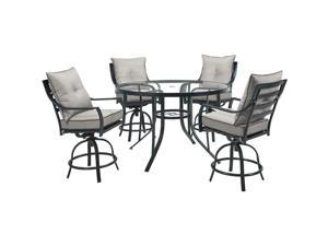 Lavallette5pc: 4 Swivel Bar Chairs and Bar Glass Table - Silver