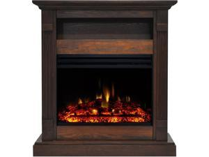 Sienna 34-In. Electric Fireplace Heater with Walnut Mantel, Enhanced Log Display, Multi-Color Flames, and Remote Control