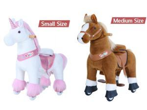 PonyCycle U Series Ride on Horse Toy Pink Unicorn Small Size for Age 3-5 and Brown Horse Medium Size for Age 4-8