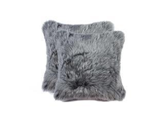 "18"" X 18"" X 5"" Gray 2 Pack Sheepskin Pillow 316950 By HomeRoots Decor"