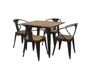 """5 Piece 36"""" Dining Table Set with Rosewood Top and Metal Legs, Seats 4"""