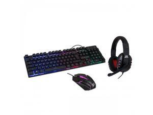 RGB USB Spill Proof Keyboard – Wired Gaming Mouse 2400 dpi 6-Button Optical Mouse - Stereo Gaming Headset with Volume Control