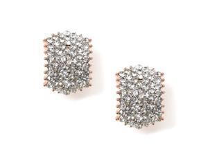 Gold Crystal Rhinestones in Parallelogram Shape Earrings Model No - 41130-200