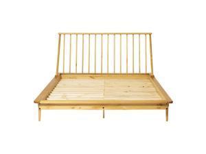 Modern Wood Queen Spindle Bed - Light Oak