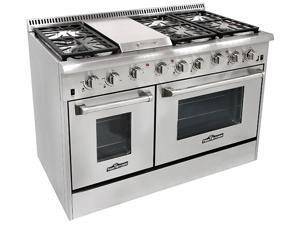 """Thor Kitchen 48"""" All Stainless Steel Professional Gas Range with 6 burners and Griddle"""