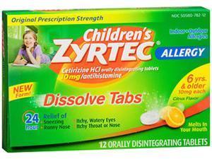 Zyrtec Children's Allergy Dissolve Tabs Citrus Flavor 10mg -12 Dissolve Tablets