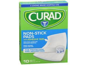 """Curad Non-Stick Pads With Adhesive Tabs 3"""" x 4"""" - 10 ct"""