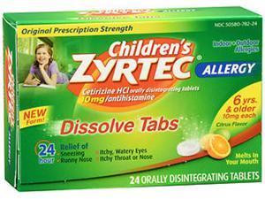 Zyrtec Children's 24hr Citrus Dissolve Tablets, 24ct