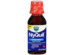 Vicks NyQuil Cold Flu Nighttime Relief Liquid Cherry - 8 oz