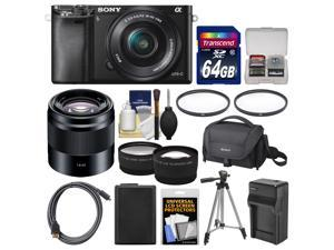 Sony Alpha A6000 Wi-Fi Digital Camera & 16-50mm Lens (Black) with 50mm f/1.8 Lens + 64GB Card + Case + Battery/Charger + Tripod + Tele/Wide Lens Kit