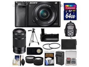 Sony Alpha A6000 Wi-Fi Digital Camera & 16-50mm Lens (Black) with 55-210mm Lens + 64GB Card + Backpack + Battery/Charger + Grip + Tripod + 2 Lens Kit