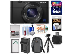 Sony Cyber-Shot DSC-RX100 IV 4K Wi-Fi Digital Camera with 64GB Card + Battery & Charger + Case + Flex Tripod + Kit
