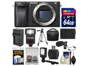Sony Alpha A6300 4K Wi-Fi Digital Camera Body (Black) with 64GB Card + Case + Flash + LED Video Light + Mic + Battery & Charger + Tripod + Kit