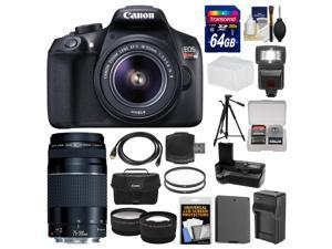 Canon EOS Rebel T6 Wi-Fi Digital SLR Camera & EF-S 18-55mm IS II with 75-300mm Lens + 64GB Card + Case + Flash + Battery + Charger + Grip + Tripod Kit