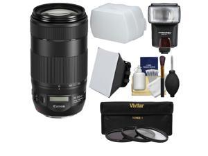 Canon EF 70-300mm f/4-5.6 IS II USM Zoom Lens with Flash + 3 Filters + Soft Box + Diffuser + Kit