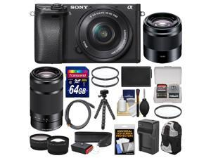 Sony Alpha A6300 4K Wi-Fi Digital Camera & 16-50mm, 55-210mm, & 50mm Lenses (Black) with 64GB Card + Case + Battery & Charger + Flex Tripod + Kit