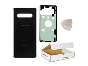 Compatible with Samsung Galaxy S10 Model G970 OEM Replacement - Prism Black Rear Back Glass Door Housing Battery Cover with Adhesive and Opening Tool