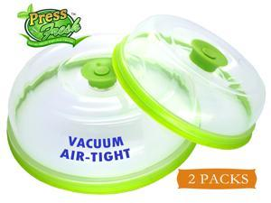 Press n Fresh Stackable Vacuum Air-tight Food Sealer Container Plate Platter Lid Cover Topper Dome (Green, 9 & 7 inches)