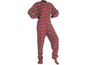 3999dd68c5 Red   Black w  Gray Hearts Cotton Flannel Adult Footie Footed Pajamas ...