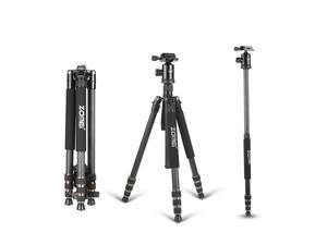 ZOMEi Z668C (Upgraded Version) Portable Carbon Fiber Tripod Pro Monopod+Ball Head and Quick Release Plate for DSLR Camera