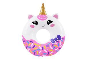 "Treasure Gurus 33"" Inflatable Rainbow Unicorn Donut Swimming Pool Water Float Blow Up Party Toy Raft Animal Floaties Decor"