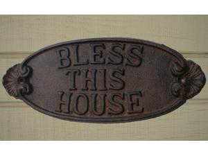 Cast Iron BLESS THIS HOUSE Sign ~ Religious Plaque