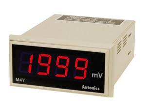 AUTONICS M4Y-DV-4 Meter, DC Volts, LED, W72xH36mm, 3 1/2-Digit, 199.9V Full Scale, 100-240 VAC