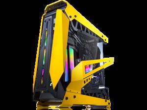"RAIJINTEK NYX PRO - Yellow, a Open Frame Alu. case (EE-B M/B), 4mm Tempered Glass, Flip Open Top & Front Panel, max. 496mm VGA Card, max. 2.5""SSD×4, max. 12025 Fanx6, PCI Express Gen3.0 Riser Card"