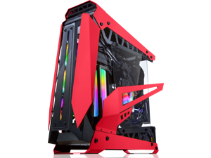"RAIJINTEK NYX PRO - Red, a Open Frame Alu. case (EE-B M/B), 4mm Tempered Glass, Flip Open Top Panel & Front Panel, max. 496mm VGA Card, max. 2.5""SSD×4, max. 12025 Fanx6, PCI Express Gen3.0 Riser Card"