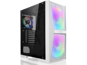 RAIJINTEK SILENOS MS PRO WHITE, a ATX Tower  case with Mesh at Front and Tempered Glass (4.0mm) side panel , Comes with Pre-installed 2pcs ARGB 200mm Fans at Front and 1pcs 120mm ARGB fan at Rear