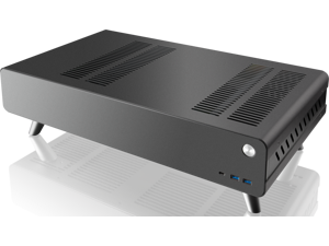 "RAIJINTEK PAN SLIM BLACK, a slim Alumium HTPC case, supports up to Mini-ITX M/B, 240mm AIO water-cooling , 4*12025 fan at bottom, 340mm length VGA card, SFX PSU compatibility, 4*2.5""HDD + 2*3.5HDD."