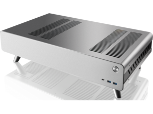 "RAIJINTEK PAN SLIM SILVER, a slim Alumium HTPC case, supports up to Mini-ITX M/B, 240mm AIO water-cooling , 4*12025 fan at bottom, 340mm length VGA card, SFX PSU compatibility, 4*2.5""HDD + 2*3.5HDD."