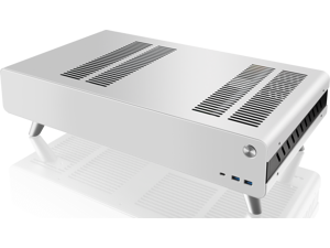 "RAIJINTEK PAN SLIM WHITE, a slim Alumium HTPC case, supports up to Mini-ITX M/B, 240mm AIO water-cooling , 4*12025 fan at bottom, 340mm length VGA card, SFX PSU compatibility, 4*2.5""HDD + 2*3.5HDD."