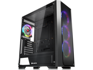 "RAIJINTEK PONOS MS4, a Mid-Tower Case w/ Tempered Glass and Front Mesh, EEB M/B, comes with 4pcs 12025 ARGB fans, compatible with Max. 390mm VGA Card, Max. 5x2.5""HDD, USB3.0 and Magnetic Dust Filters"