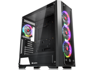 "RAIJINTEK PONOS TG4, a Mid-Tower Case w/ Tempered Glass (Front & Side), EEB M/B, comes with 4pcs 12025 ARGB fans, compatible with Max. 390mm VGA Card, Max. 5×2.5""HDD, USB3.0 and Magnetic Dust Filters"