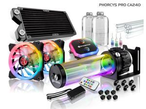 PHORCYS PRO CA240, a full Water Cooling Kit, including  copper water block, 28mm thick copper radiator, D5 level pump, is a top premium quality water cooling total solution for gaming PC & enthusiasm