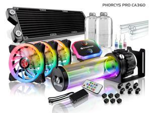 PHORCYS PRO CA360, a Water Cooling Kit, including  copper water block, 28mm thick copper 360 radiator, D5 level pump, is a top premium quality water cooling total solution for gaming PC & Enthusiasm
