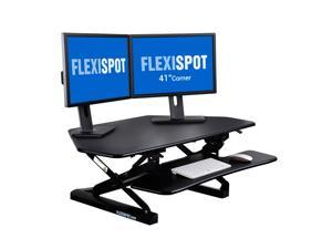 FlexiSpot Standing Desk - 41 Inch Cubicles Corner Desk Riser Computer Riser Fit Dual Monitors with Removable Keyboard Tray (M4B-Corner-Black)