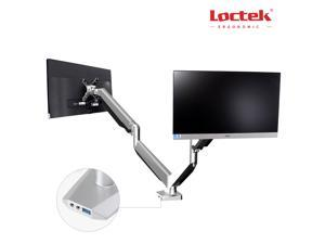 """LOCTEK Dual Arm LCD Monitor Desk Mount Heavy Duty Fully Adjustable with Gas Spring Technology Fits 2 /Two Screens up to 27"""" D7D"""