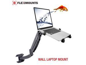 FLEXIMOUNTS 2-in-1 M10 Full Motion Laptop Wall Mount LCD Arm for Most 11-15.6 Inch Laptop, Notebook Tray Included or 10-24 Inch Computer LCDs, Swing Gas Spring Monitor Arm for Dental Clinic