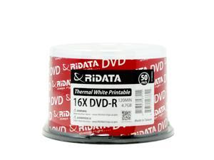 Ridata DVD-R 16X 4.7GB 120Min White Thermal Hub Printable Blank Media Recordable Disc (50 Pack)